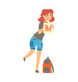 smiling young woman wearing comfy travel outfit vector image vector image