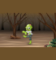 spooky zombies walk in the dead forest vector image