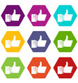 thumbs up icon set color hexahedron vector image vector image