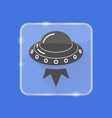 ufo spaceship silhouette icon in flat style on vector image
