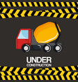 under construction truck mixer vehicle poster vector image vector image