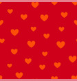 valentines day seamless pattern with red hearts vector image vector image