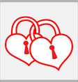 two bonded heart padlock vector image