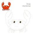 Draw the fish animal crab educational game vector image