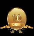 10th golden anniversary birthday seal icon