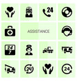 14 assistance icons vector image vector image