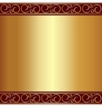 abstract gold plate background with vignettes vector image vector image