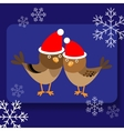 Background with two cute birds in Santa hats vector image
