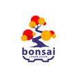 bonsai tree and pot logo concept abstract vector image