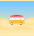 bus for travel with canoe on the beach vector image vector image