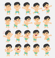 cartoon character asian boy in swimsuit set with vector image vector image