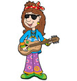 cartoon hippie musician vector image