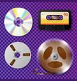 cassette recorder cd and reel tape vector image