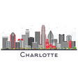 charlotte nc city skyline with gray buildings vector image vector image