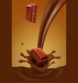 chocolate pieces falling into splash of chocolate vector image vector image