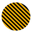 circle yellow black diagonal stripes safety stripe vector image