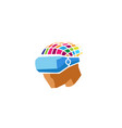 creative colorful helmet head digital logo vector image