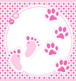 cute babygirl footprint and paws vector image vector image