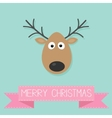 Cute cartoon deer with horn Merry christmas vector image vector image