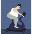 Cycling fat man on bike in gym vector image vector image