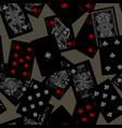 dark playing cards seamless pattern background vector image vector image
