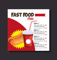 delicious hot dog fast food restaurant menu card vector image vector image