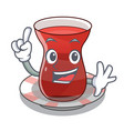 finger tea turkish on the with mascot vector image