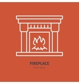 Fireplace with fire line icon house vector image