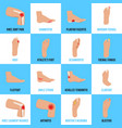 foot problems flat icons set vector image