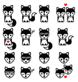 Fox cute character icons wildlife concept vector image vector image