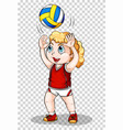girl playing volleyball on transparent background vector image vector image