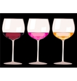 glasses with wine and champagne isolated on white vector image