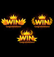 golden win versions isolated logo win for vector image