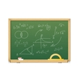 Green chalkboard with mathematics symbols for