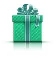 Green gift box with ribbon vector image vector image