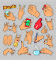hands signs with ok victory rock for prints vector image vector image