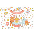 happy birthday card with cute animals near holiday vector image