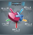 health heart icon 3d medical infographic vector image vector image