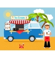 Ice cream truck and iceman vector image vector image