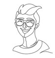 laughing man in eyeglasses portrait one line art vector image vector image