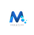 m letter logo design with 3d and ribbon effect vector image vector image