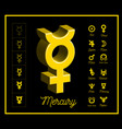 mercury planet sign with other astrological vector image