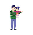 merry christmas father carrying daughter with ugly vector image vector image