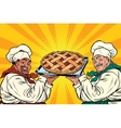multi-ethnic chefs with berry pie vector image