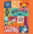 nautical sailing flag and boat elements vector image vector image
