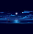 night landscape with moon sea ocean sky water vector image vector image