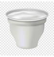open yogurt mockup realistic style vector image vector image