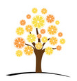 orange or tangerine tree with green leaves vector image