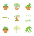park plants icons set cartoon style vector image vector image