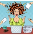 Pop Art Aggressive Screaming Woman with Laptop vector image vector image